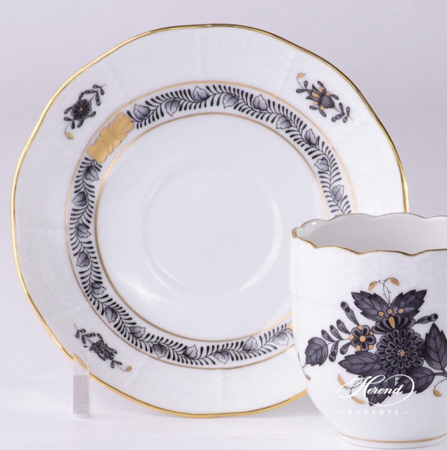 Coffee / Espresso Cup w. Saucer 709-0-00 ANG Chinese Bouquet / Apponyi Black design. Herend fine china