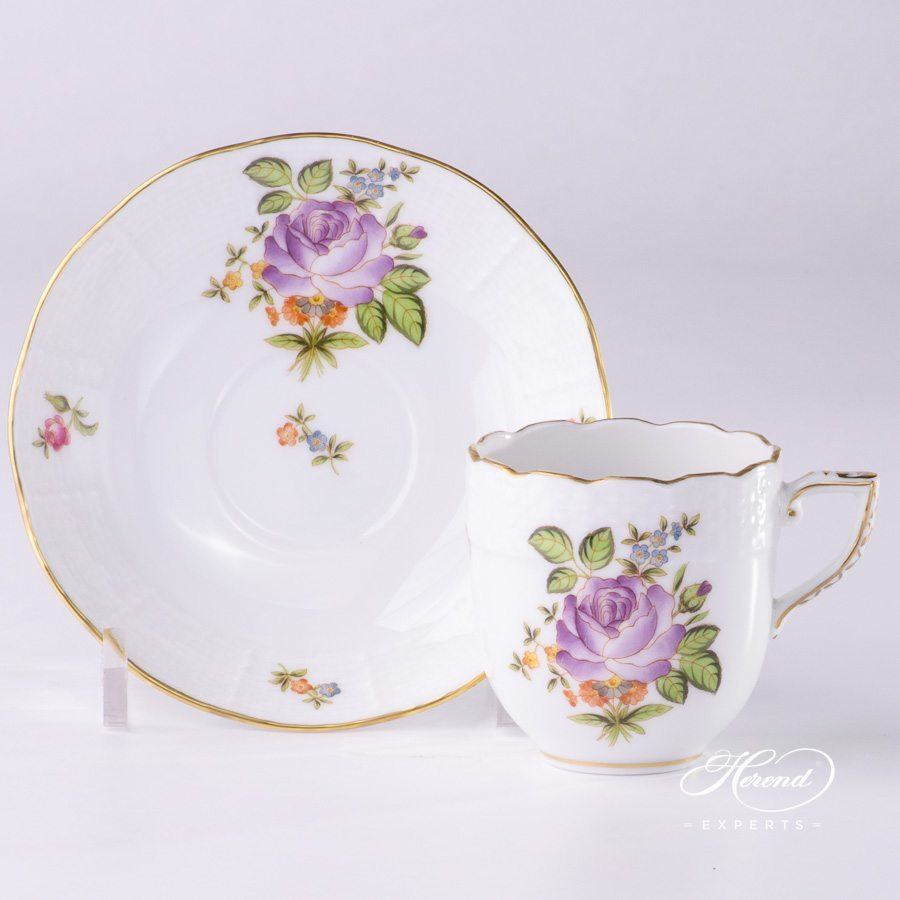 Mocha Cup or Espresso Cup with Saucer 709-0-00 PBR Small Bunch of Roses pattern - Herend porcelain hand painted.