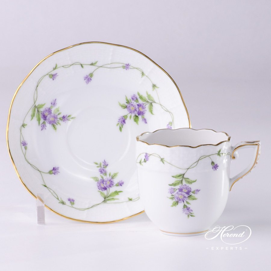 Mocha Cup or Espresso Cup with Saucer 709-0-00 IA Imola Flower pattern - Herend porcelain hand painted.