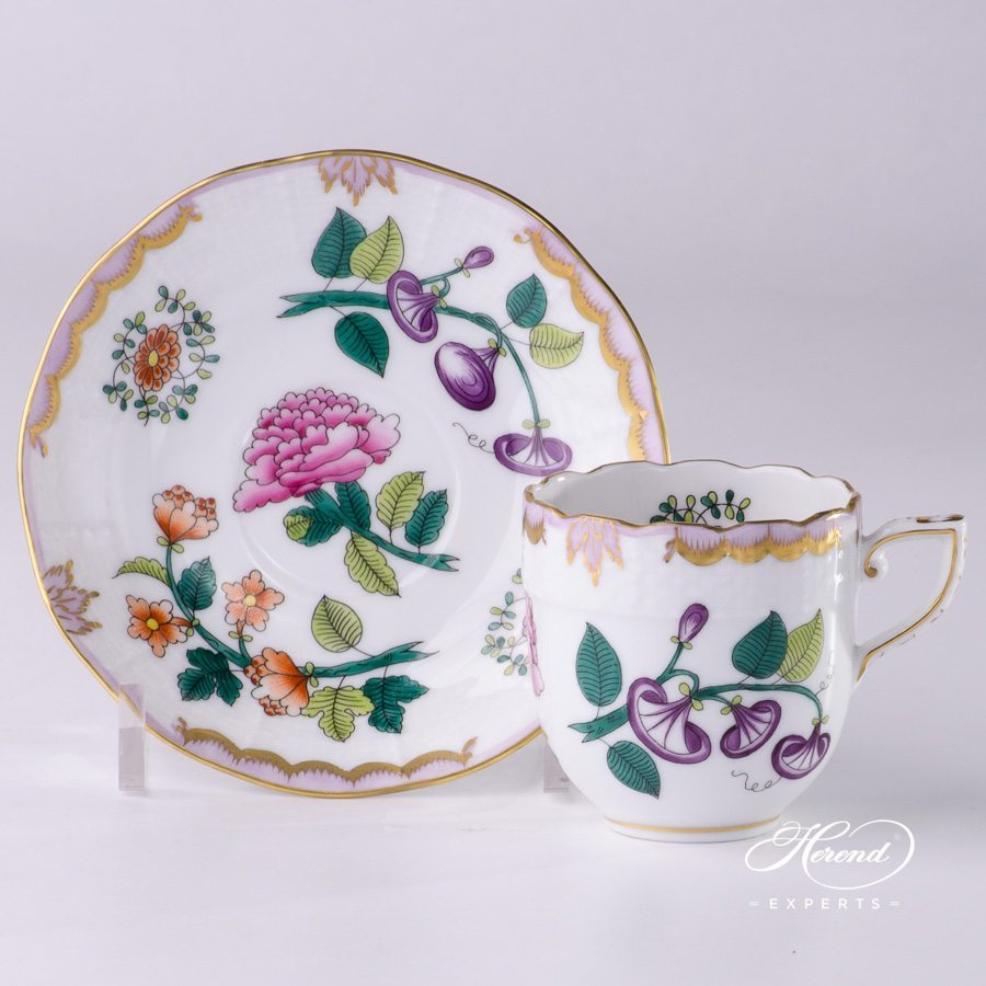 Mocha Cup or Espresso Cup with Saucer 709-0-00 WBO Windsor Flowers pattern - Herend porcelain hand painted.