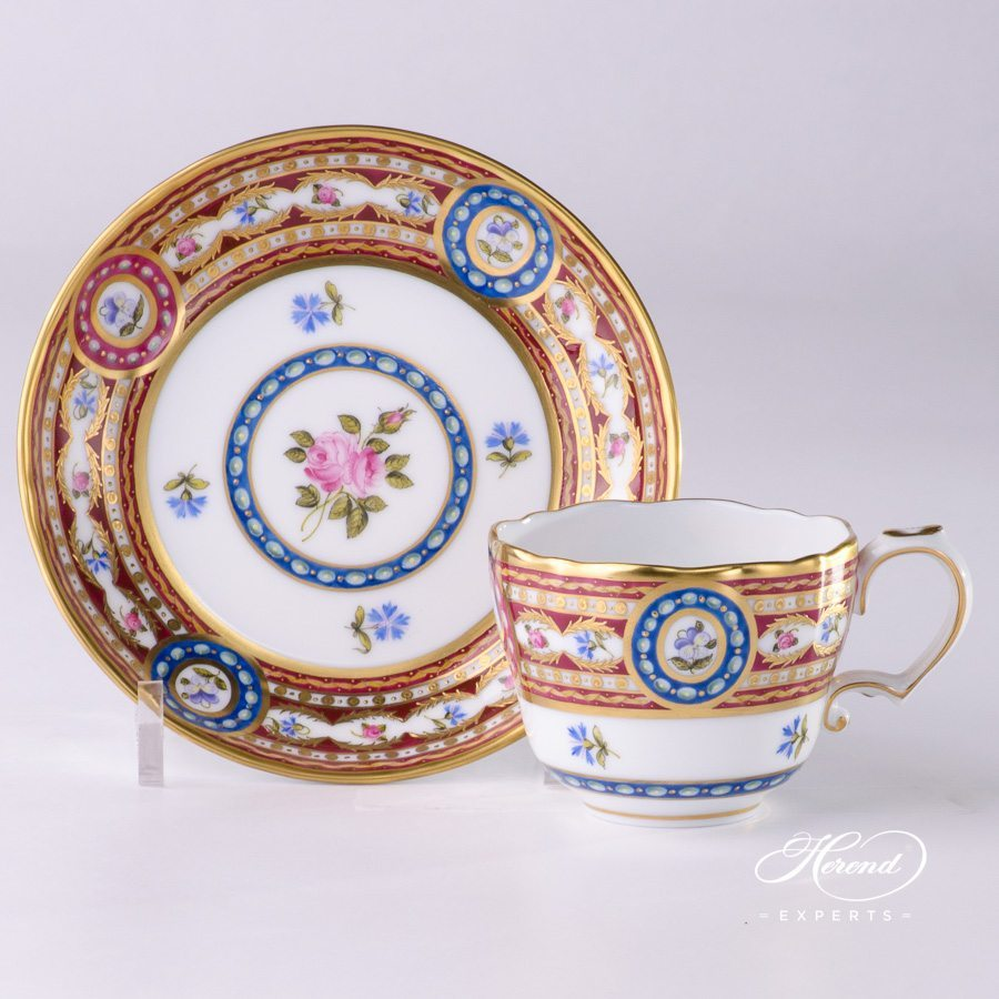 Mocha Cup or Espresso Cup with Saucer 3599-0-00 EGAVT Silk Brocade - Eglantine pattern - Herend porcelain hand painted.