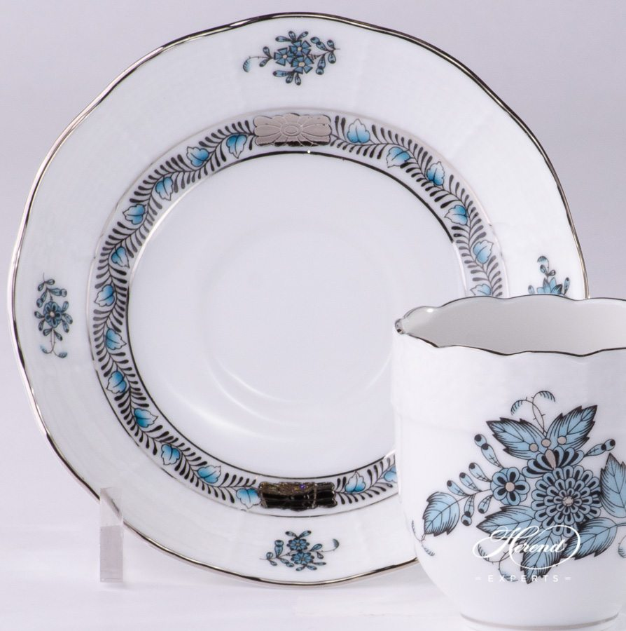 Mocha Cup or Espresso Cup with Saucer 709-0-00 ATQ3-PT Apponyi Turquoise pattern - Herend porcelain hand painted.