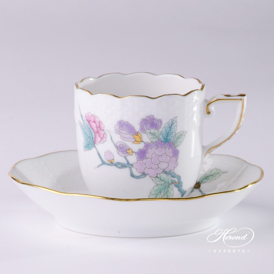 Mocha Cup or Espresso Cup with Saucer 709-0-00 EVICTF2 Royal Garden Turquoise Flower pattern - Herend porcelain hand painted.
