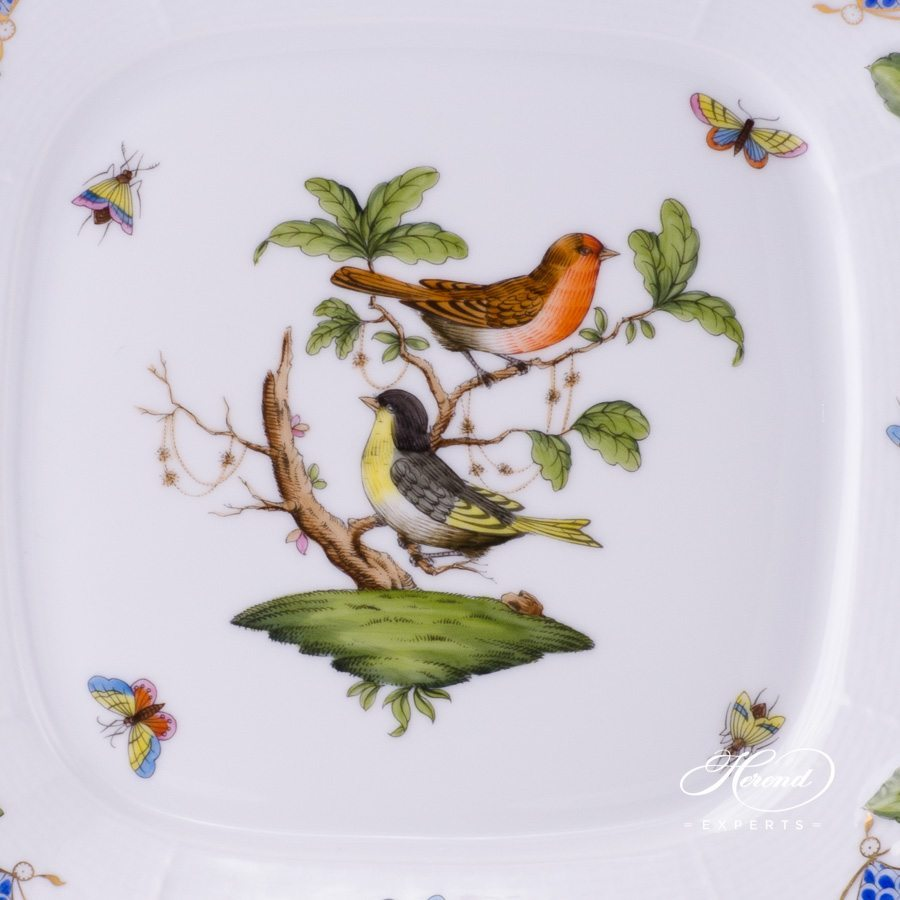 Cake Plate with Branch Handles 430-0-00 RO-ETB Rothschild Bird Blue Fish Scale design. Herend fine china tableware. Hand painted