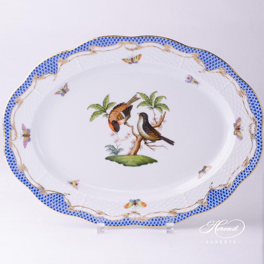 Oval Dish 103-0-00 RO-ETB blue fishnet - Herend porcelain hand painted.