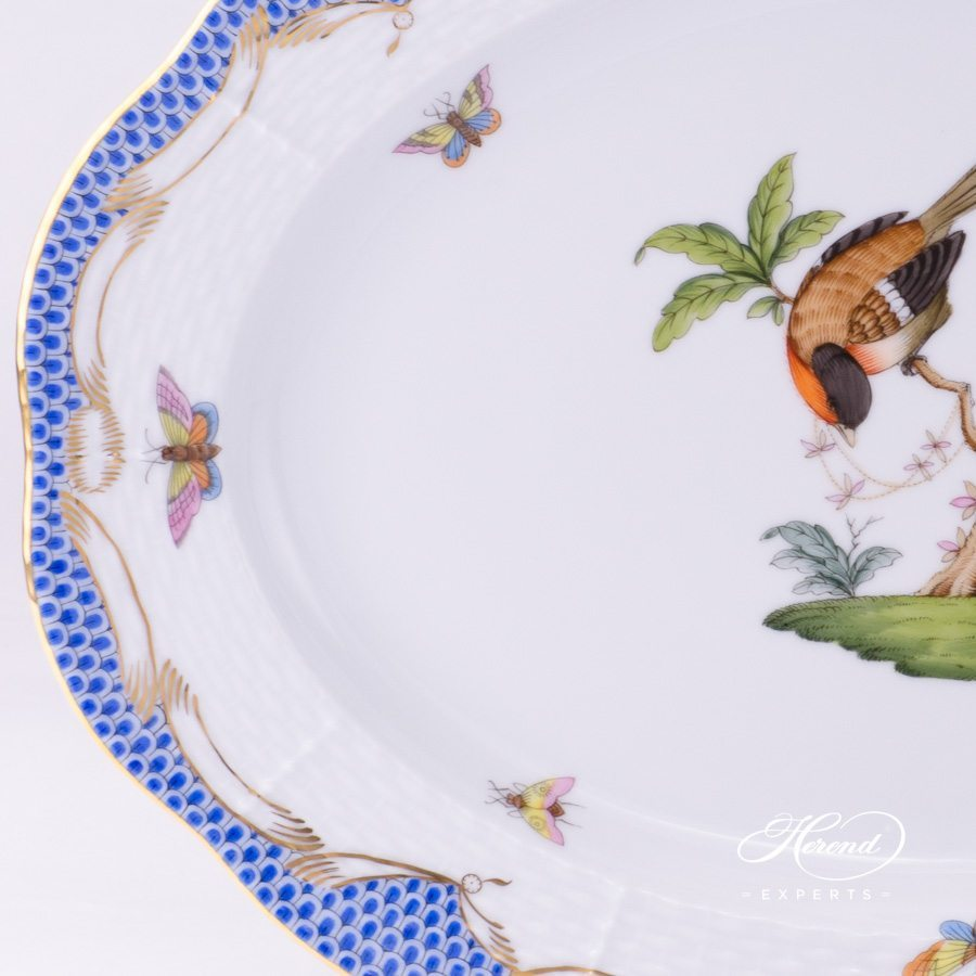 Oval Dish 103-0-00 RO-ETB Rothschild Bird Blue Fish Scale design. Herend fine china tableware. Hand painted