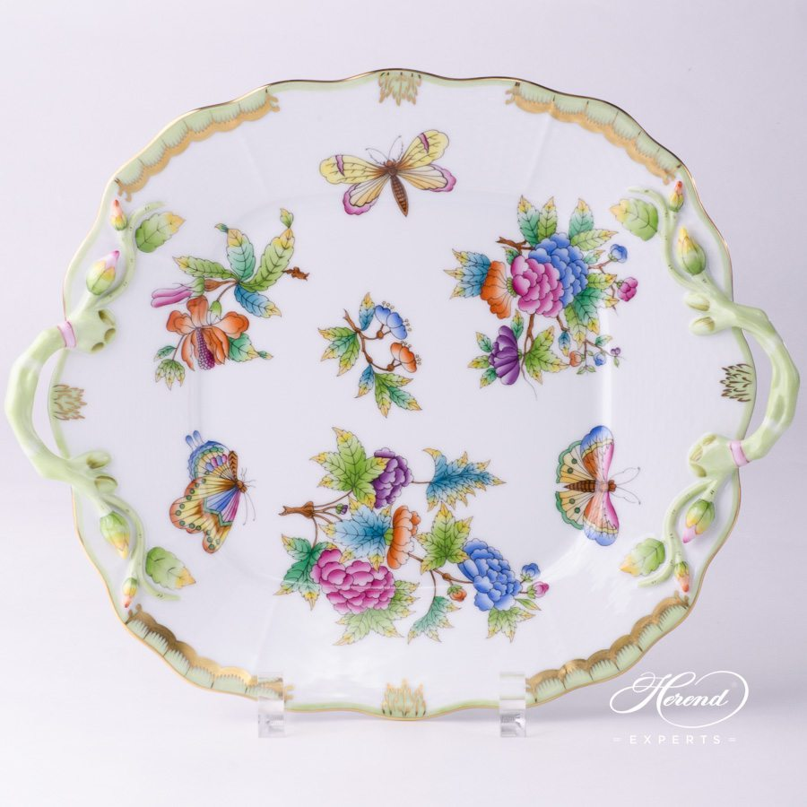 Cake Plate Queen Victoria VBO pattern - Herend porcelain hand painted.
