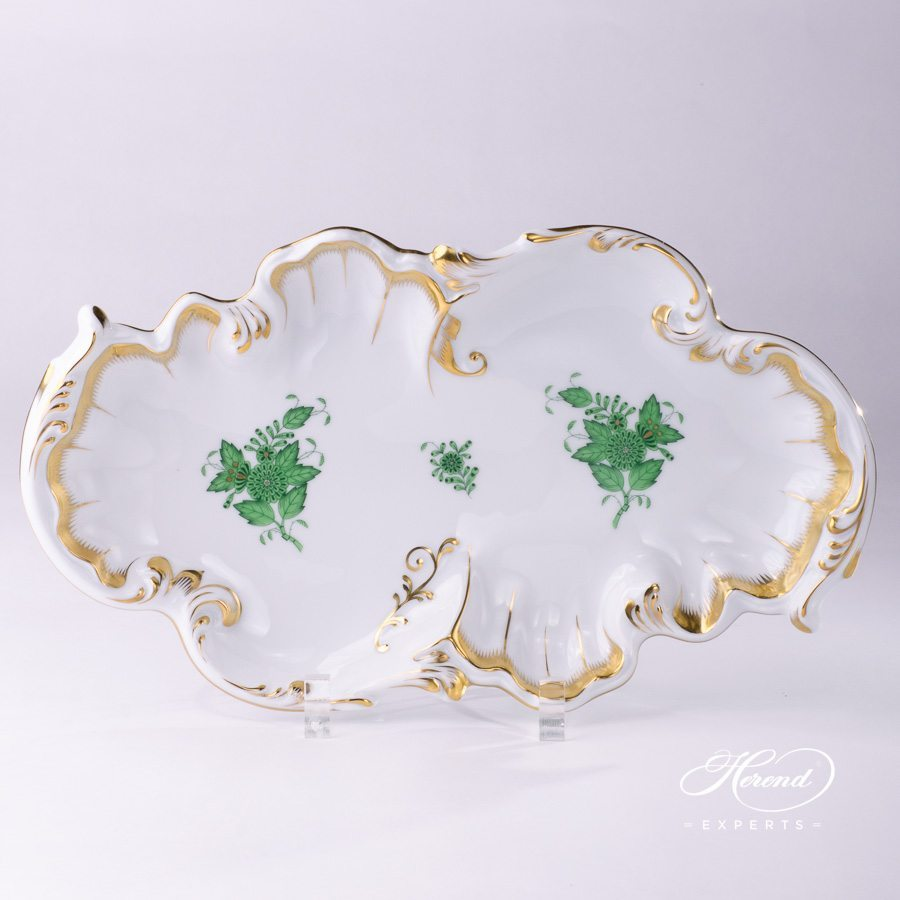 Dish Rococo 7517-0-00 AV Chinese Bouquet Green / Apponyi Green decor. Herend porcelain hand painted