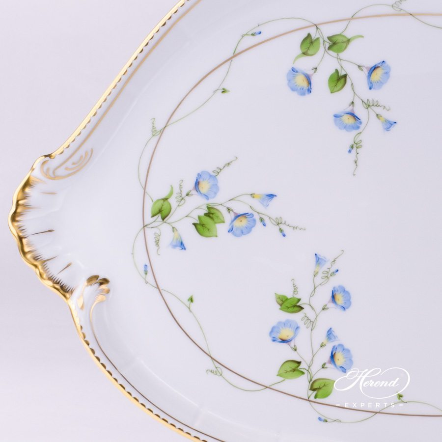 Platter Shell Shaped 4250-0-00 NY Nyon - Morning Glory pattern - Herend porcelain hand painted.