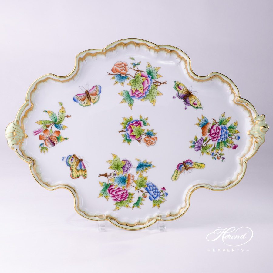 Tray Rococo / Cake Plate 402-0-00 VBO Queen Victoria multicolor design. Herend fine china tableware. Hand painted