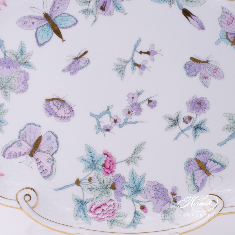 Tray with Ribbon 400-0-00 EVICT2 Royal Garden Turquoise pattern - Herend fine china.