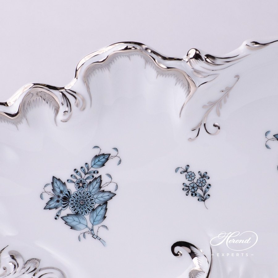 Dish Rococo 7517-0-00 ATQ3-PT Apponyi Turquoise pattern - Herend porcelain hand painted.