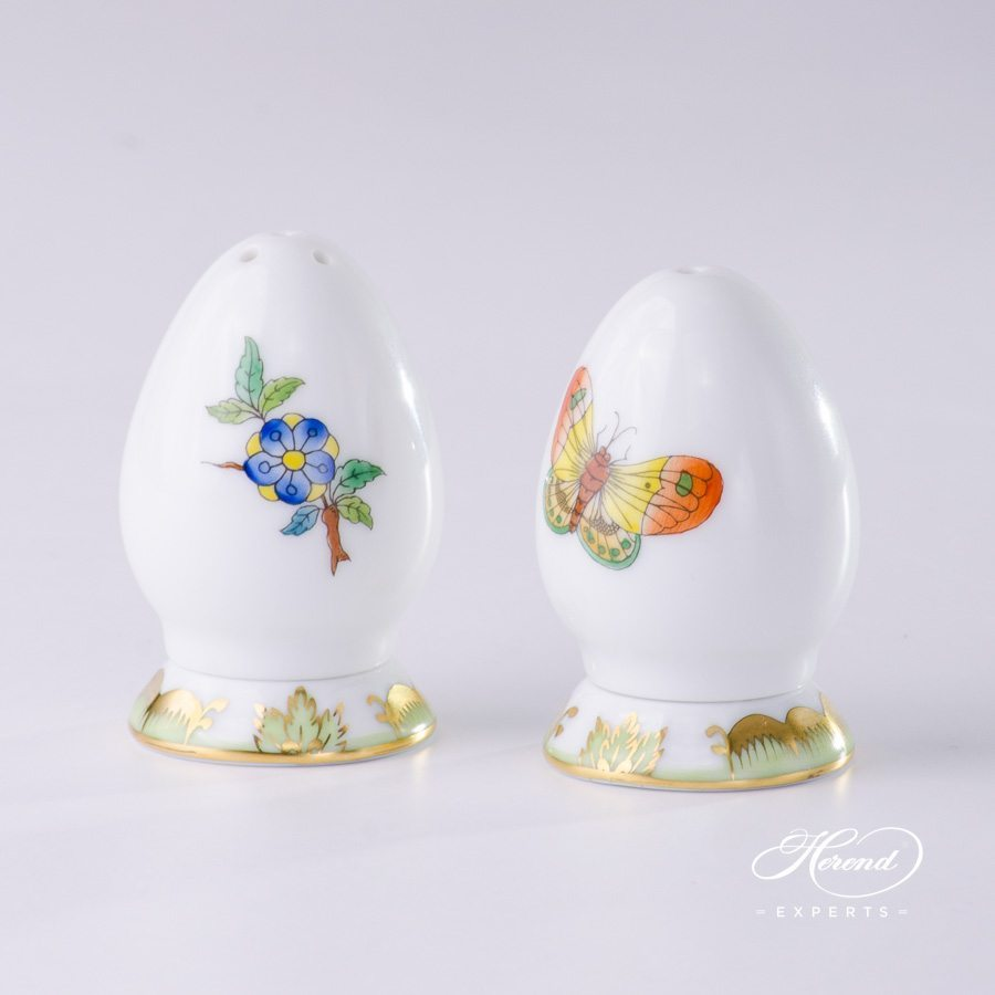 Salt Shaker 249-0-00 VBA and Pepper Shaker 250-0-00 VBA Queen Victoria pattern - Herend porcelain hand painted.
