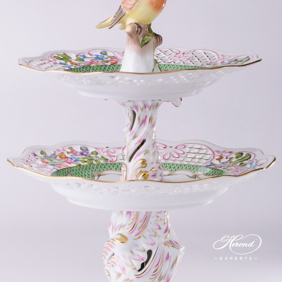 Cake Stand 2 Tier 7442-0-00 RO-ETV Rothschild Bird Green Fish Scale pattern. Herend porcelain hand painted
