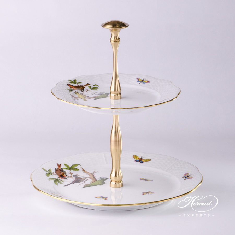 Cake Stand 2 Tier 308-0-92 RO Rothschild Bird pattern. Herend fine china hand painted