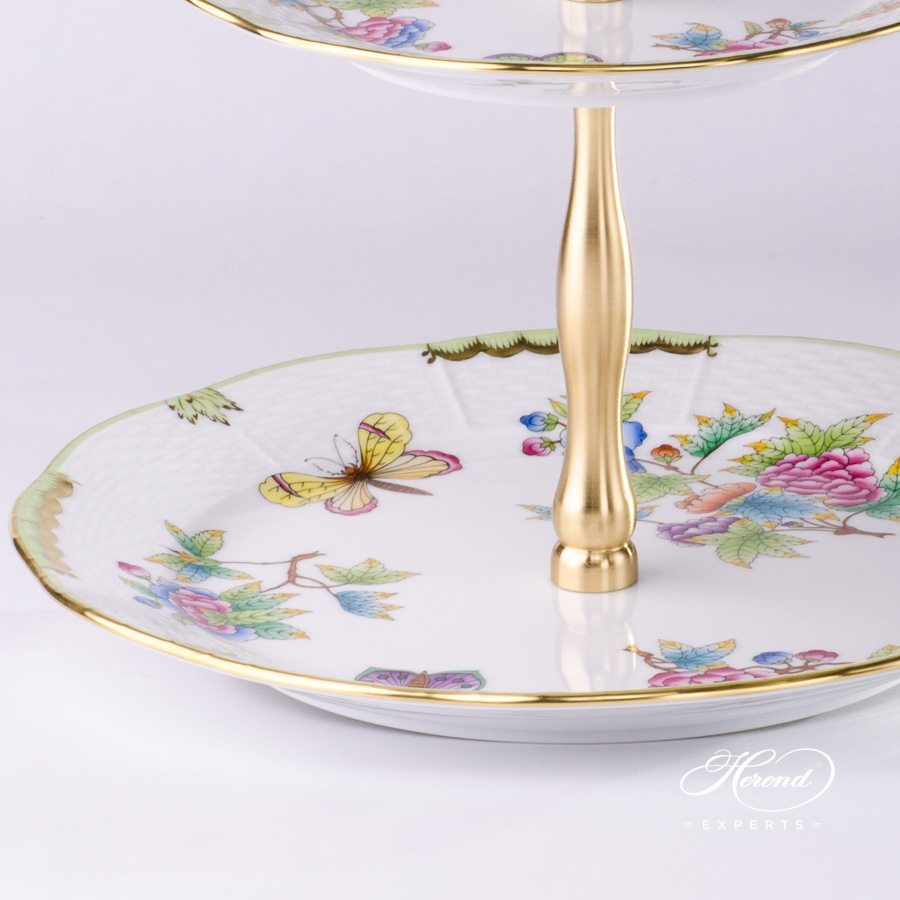 Cake Stand 2 Tier 308-0-92 VBO Queen Victoria pattern. Herend porcelain hand painted