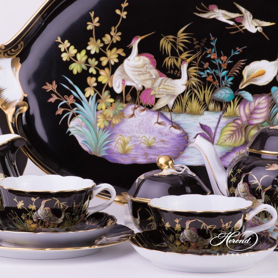 Tea Set for 2 Persons Waterfowl - Black background Special pattern