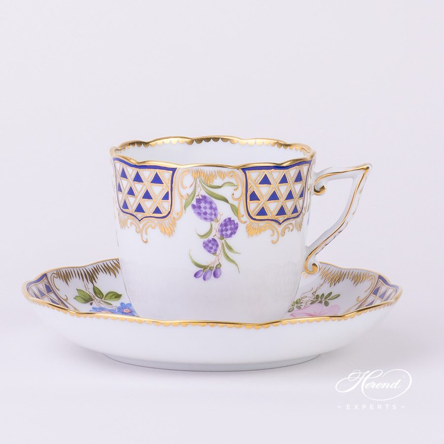 Coffee Cup with Saucer 20706-0-00 MTFC Mosaic and Flowers decor. Herend porcelain tableware. Hand painted