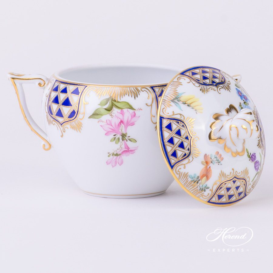Sugar Basin with Twisted Knob 20472-0-06 MTFC Mosaic and Flowers decor. Herend porcelain tableware. Hand painted