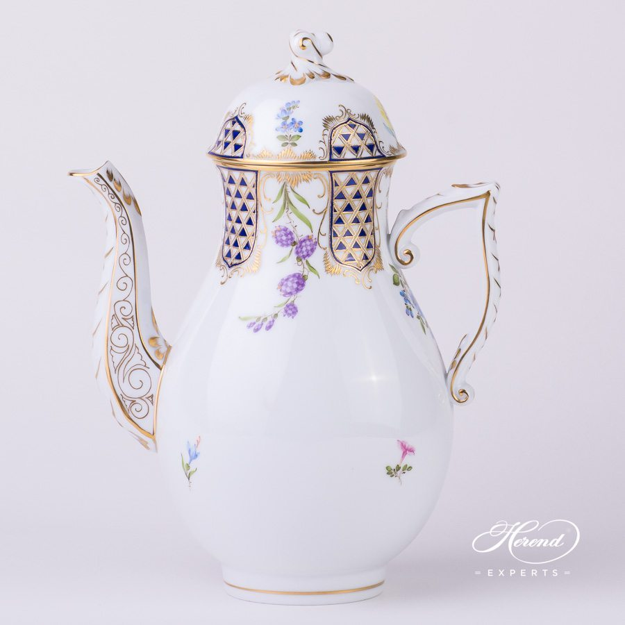 Coffee Pot with Twisted Knob 20613-0-06 MTFC Mosaic and Flowers decor. Herend porcelain tableware. Hand painted
