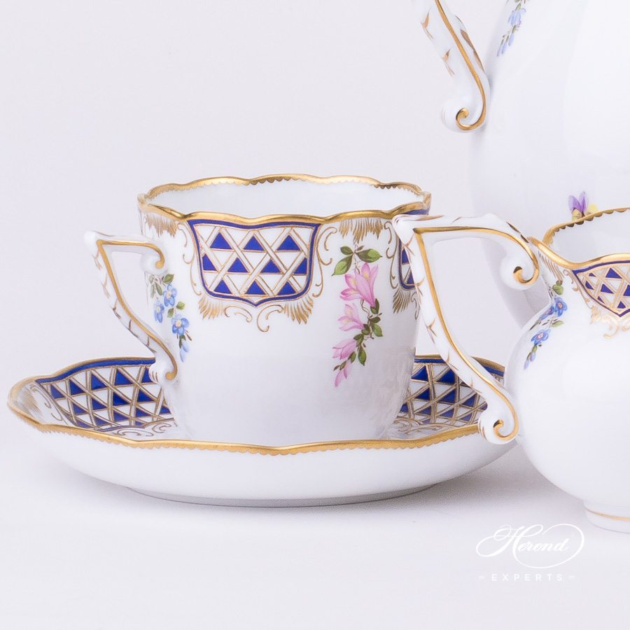 Coffee Set for 2 Persons - Mosaic and Flowers MTFC decor. Herend porcelain tableware. Hand painted