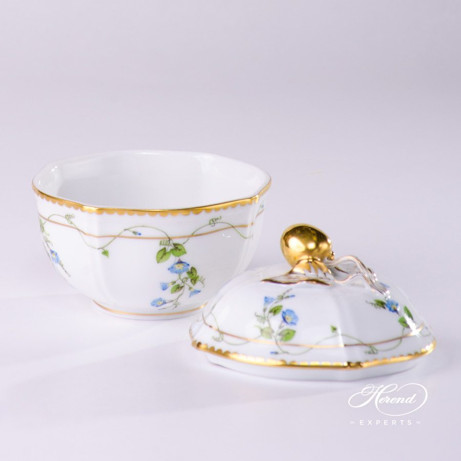 Sugar Basin with Cherry Knob 4246-0-67 NY Nyon / Morning Glory decor. Herend porcelain hand painted