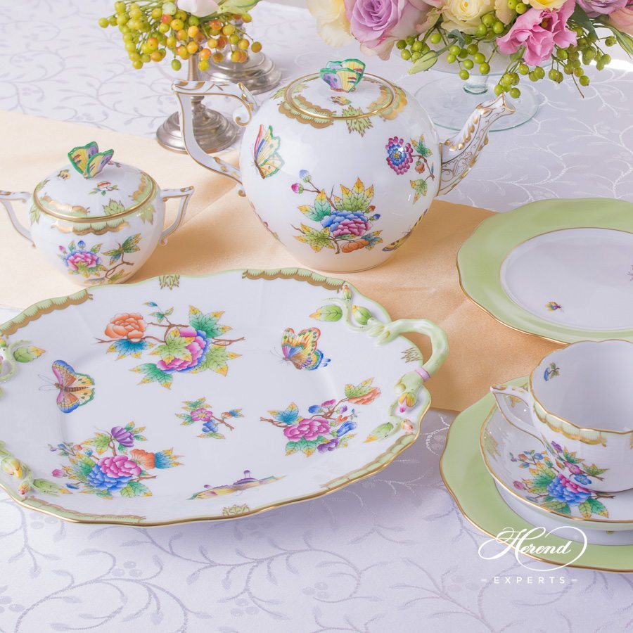 Tea Set for 2 persons Queen Victoria VBO pattern - Herend porcelain hand painted.