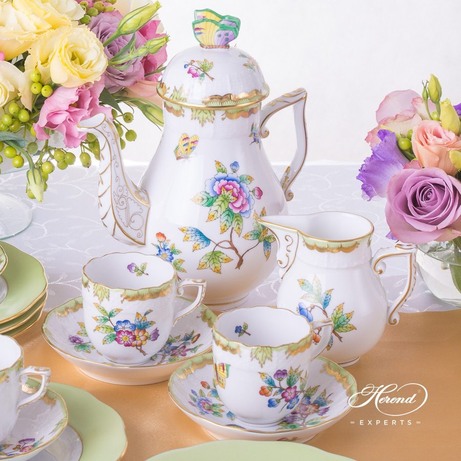 Coffee Set or Mocha Set for 6 persons Queen Victoria VBO pattern. Herend porcelain hand painted
