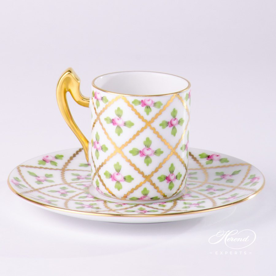 Coffee Cup w. Saucer - Empire shape 2761-0-00 SPROG Sevres Roses pattern. Herend fine china hand painted. Classic Herend design