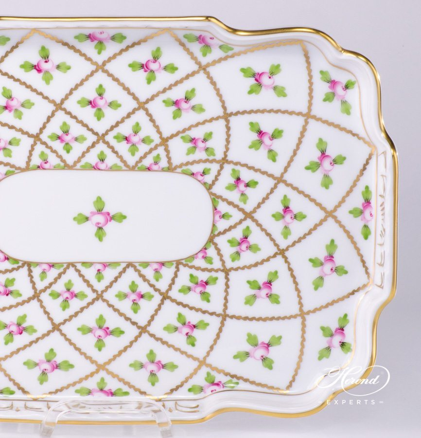 Tray open-work SPROG Sévres Roses pattern - Herend porcelain hand painted.