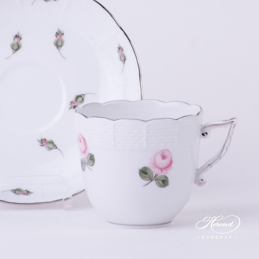 Coffee Cup 706-0-00 VR-PT Vienna Rose Platinum pattern - Herend porcelain hand painted.