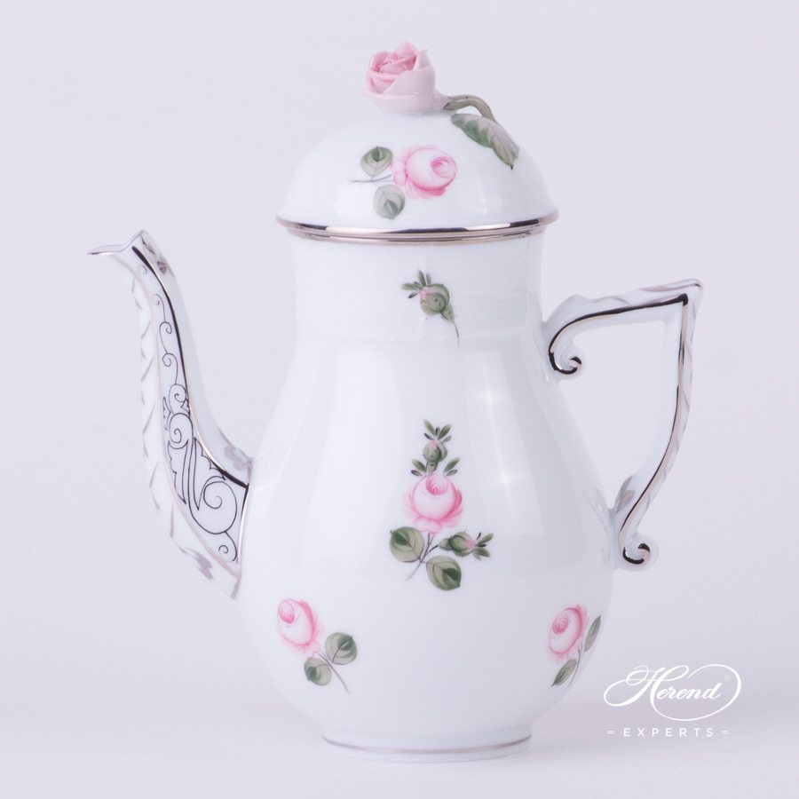 Coffee Pot 614-0-09 VR-PT Vienna Rose Platinum pattern - Herend porcelain hand painted.