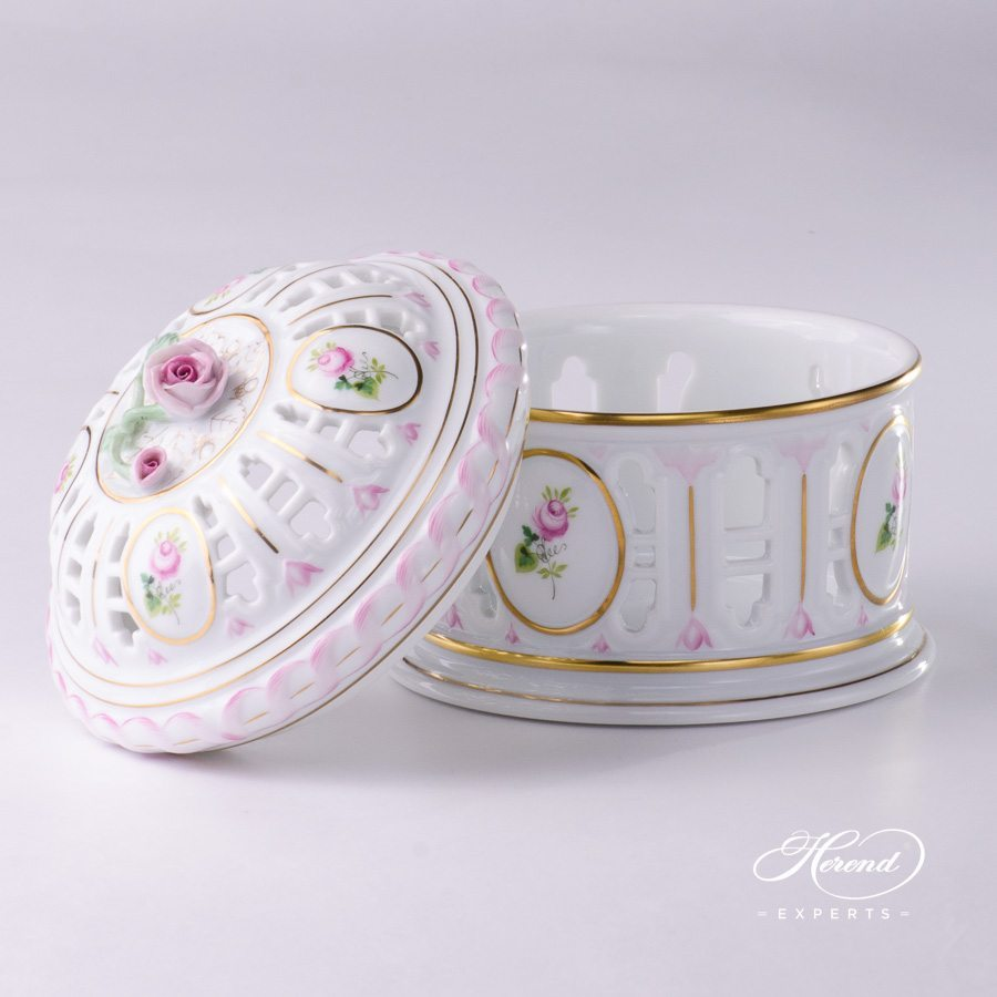 Candy Box or Biscuit Box with Rose Knob 6206-0-09 C-VRH-OR Special Vienna Rose - Viennese Rose pattern - Herend porcelain hand painted.
