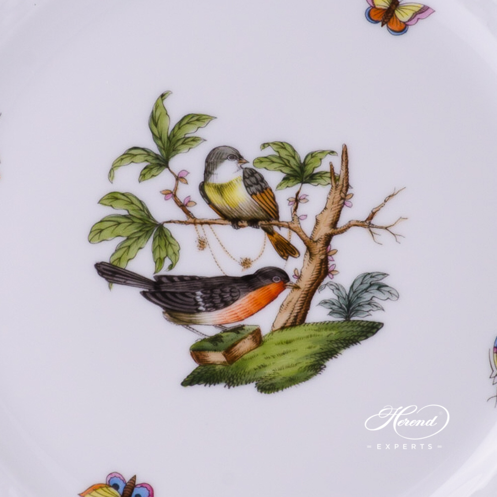 Dessert Plate 519-0-00 RO-ETB Rothschild Bird Blue Fish Scale design. Herend fine china tableware. Hand painted