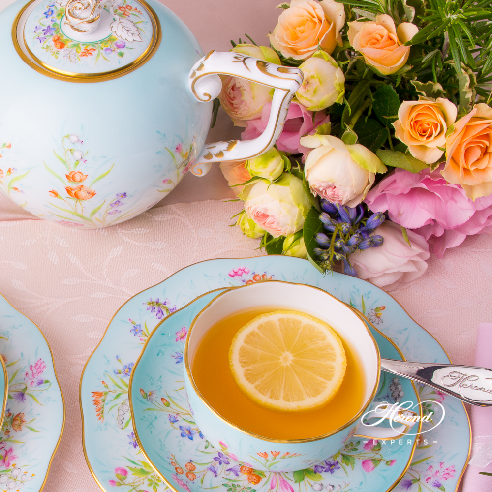 Tea Cup w. Saucer 20724-0-00 QS Four Seasons Flower pattern. Herend fine china tableware. Hand painted. Painted only by Master Painters