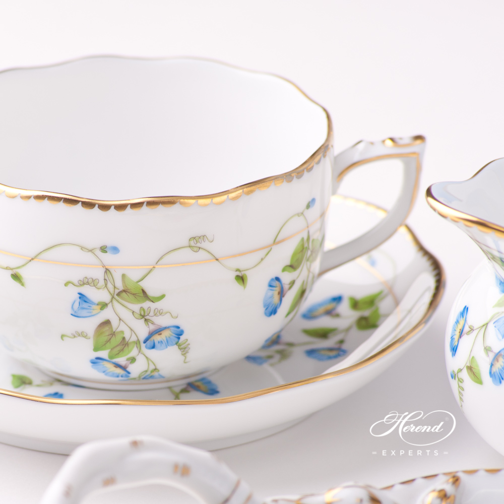 TeaCup with Saucer20724-0-00 NY Nyon / Morning Glory design. Herend fine china tableware. Hand painted