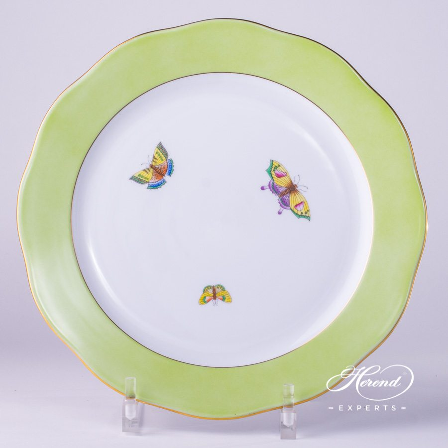 Big Serving Plate with Butterflies 20156-0-00 E-508 Green Edge decor. Herend fine china. Hand Painted. For Queen Victoria VBO and Old Queen VICTORIA Dinner Sets