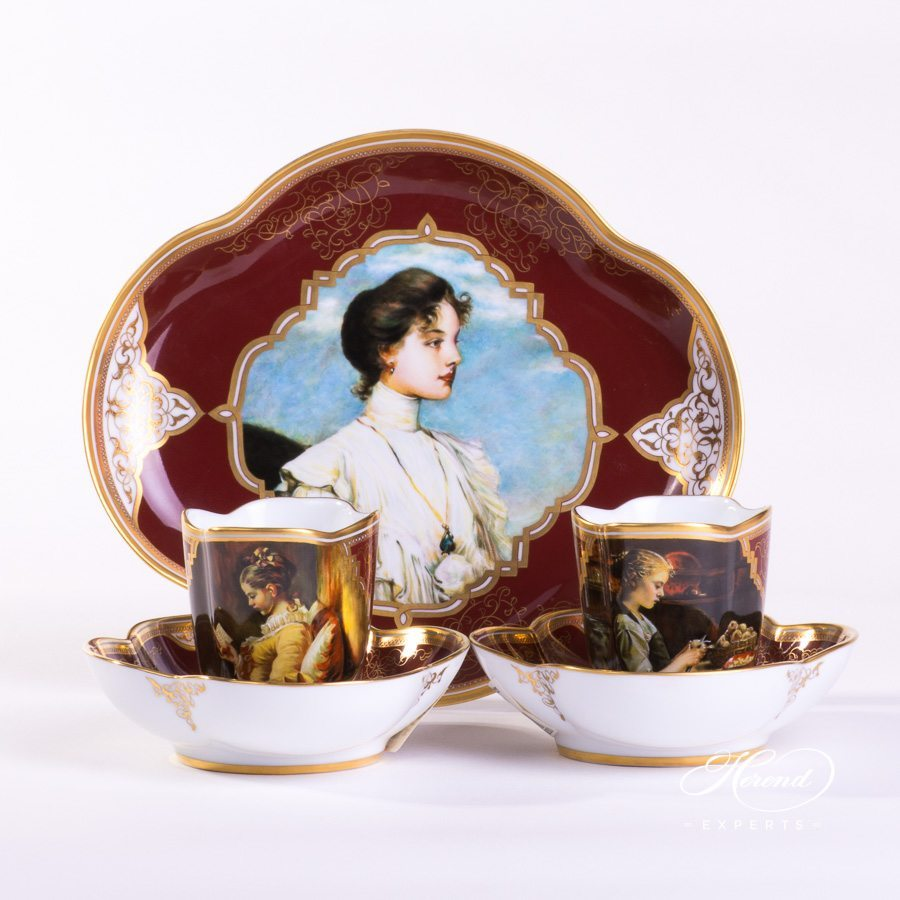 Coffee Set for 2 Persons - Beautiful Ladies SP1061 Special decor. Herend porcelain hand painted. Painted only by Master Painters