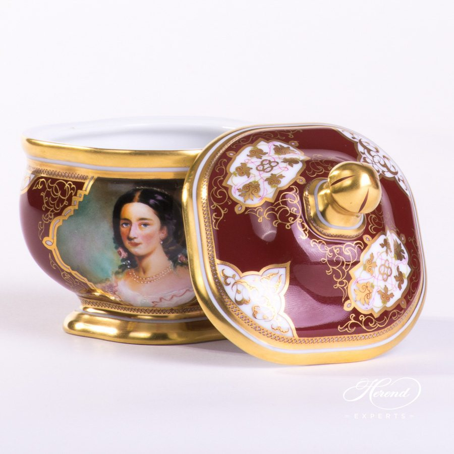 Coffee Set for 2 Persons - Beautiful Ladies SP1061 Special decor. Herend porcelain hand painted. Sugar Basin with Lid
