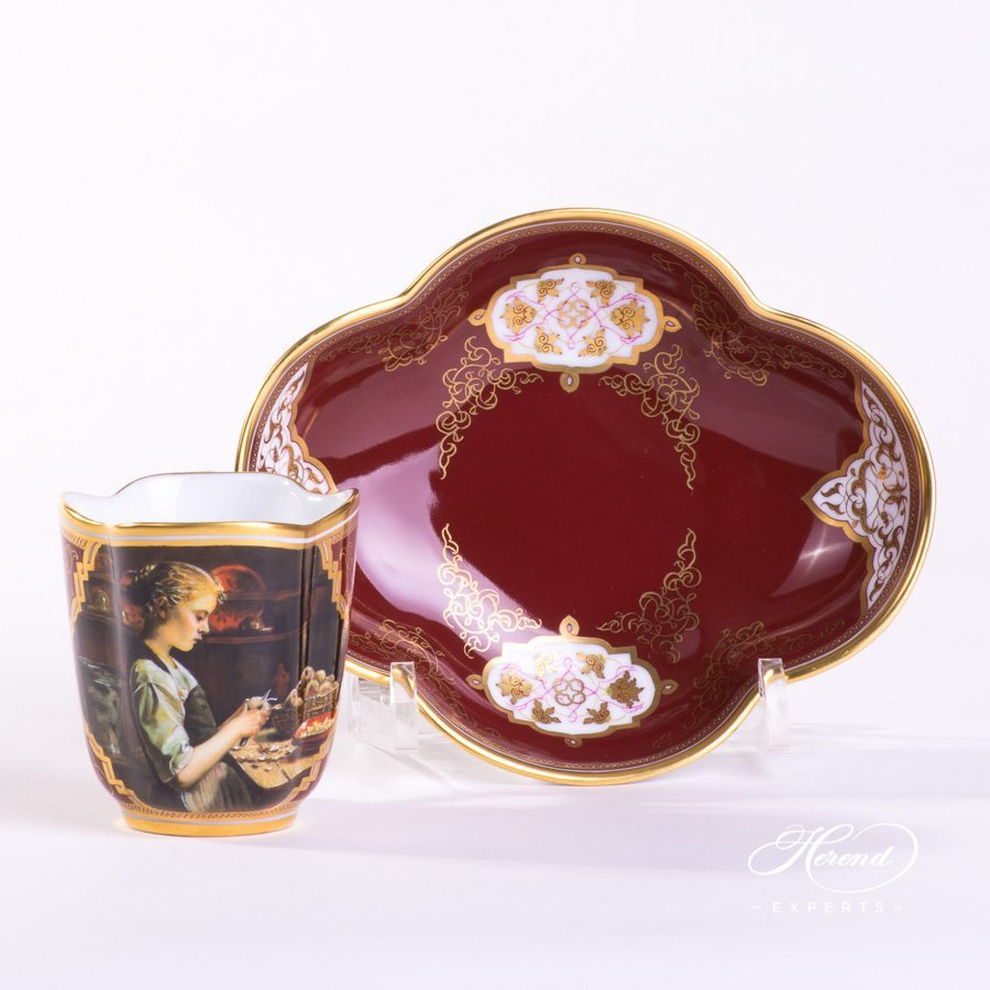 Coffee Set for 2 Persons - Beautiful Ladies SP1061 Special decor. Herend porcelain hand painted. Coffee Cup with Saucer