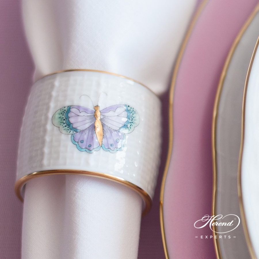 Napkin Ring 272-0-00 EVICTP2 Royal Garden Turquoise Butterfly pattern - Herend fine china.