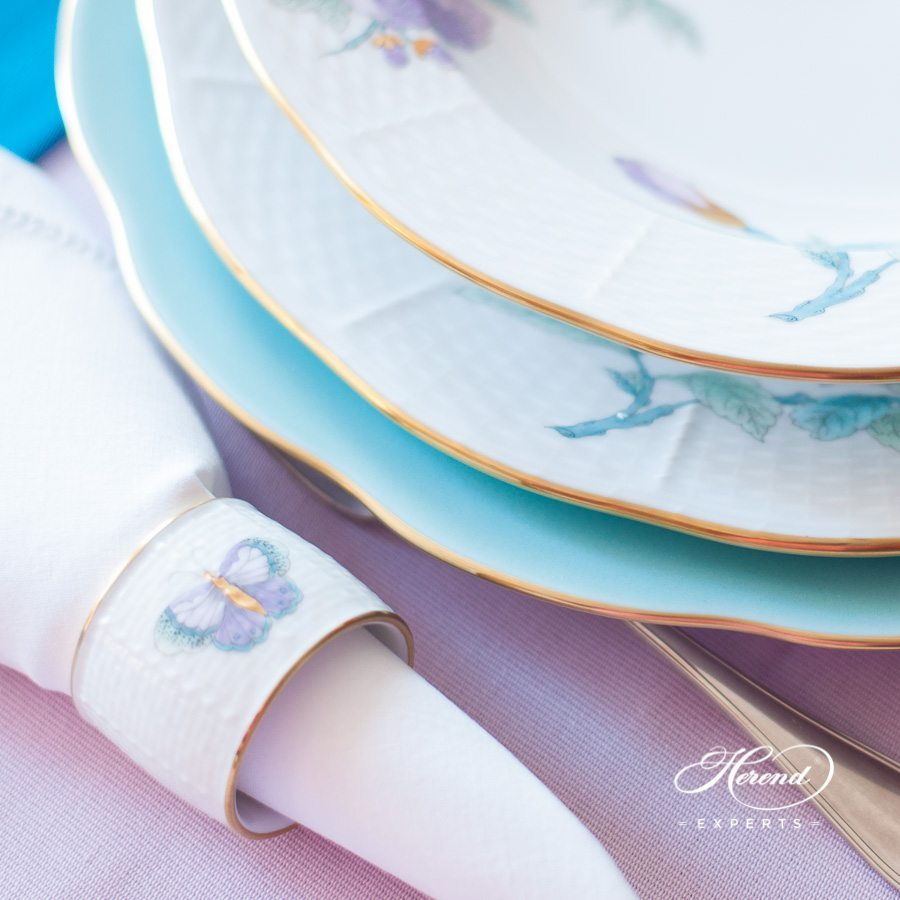 Napkin Ring 272-0-00 EVICTP2 Royal Garden Turquoise Butterfly pattern. Herend fine china tableware. Hand painted
