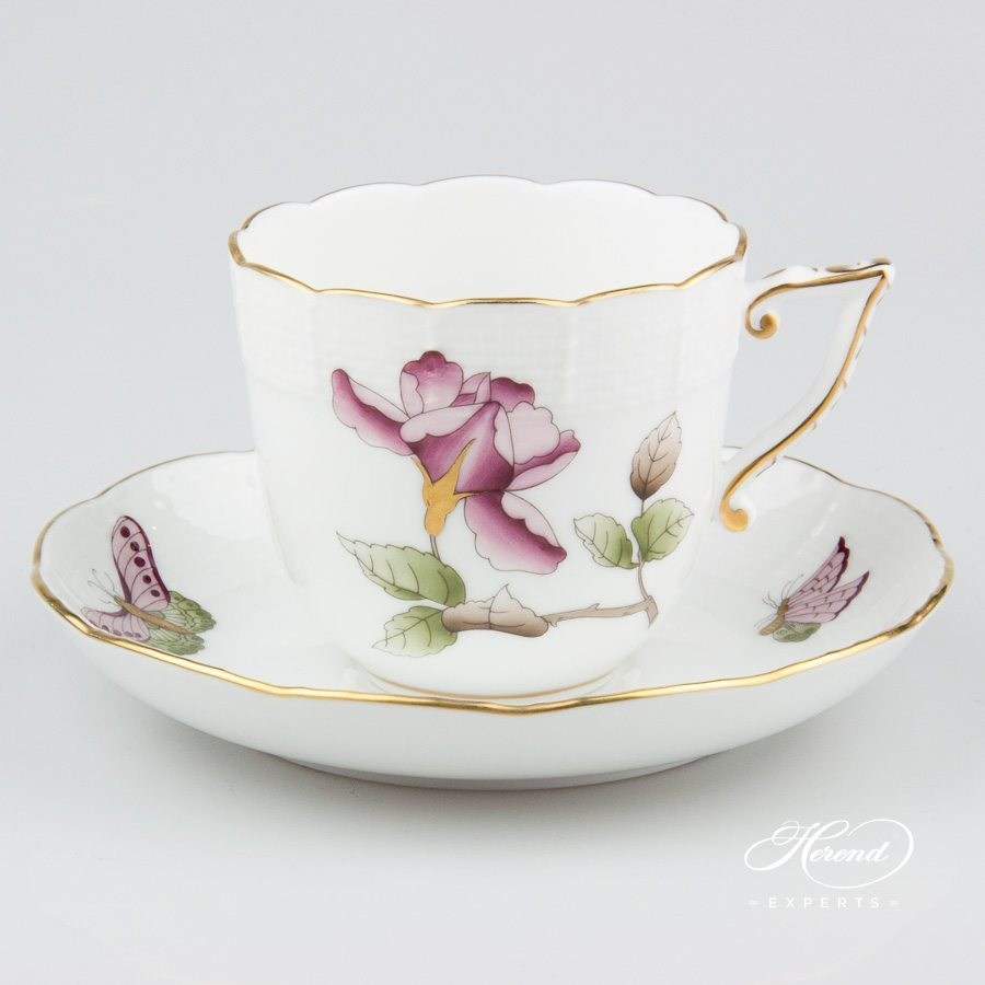 Coffee Cup w. Saucer 706-0-00 VICTMC10 Victoria Grand Burgundy pattern. Herend fine china