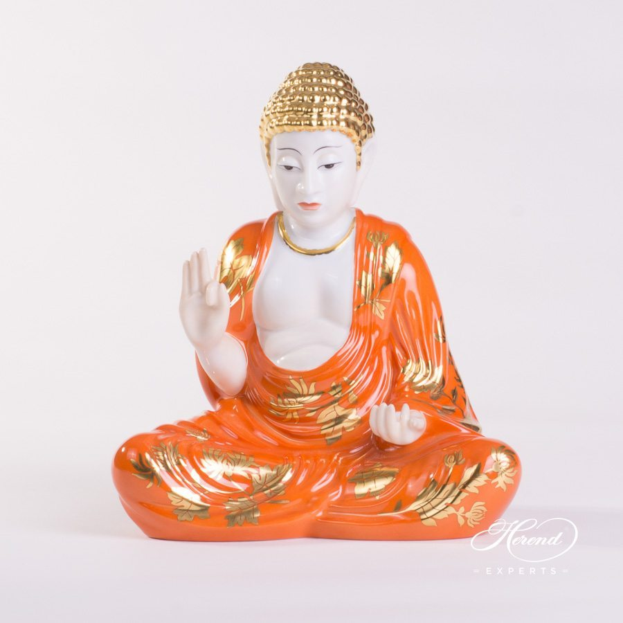 Buddha Statue 5666-0-00 CDO pattern - Herend porcelain hand painted.