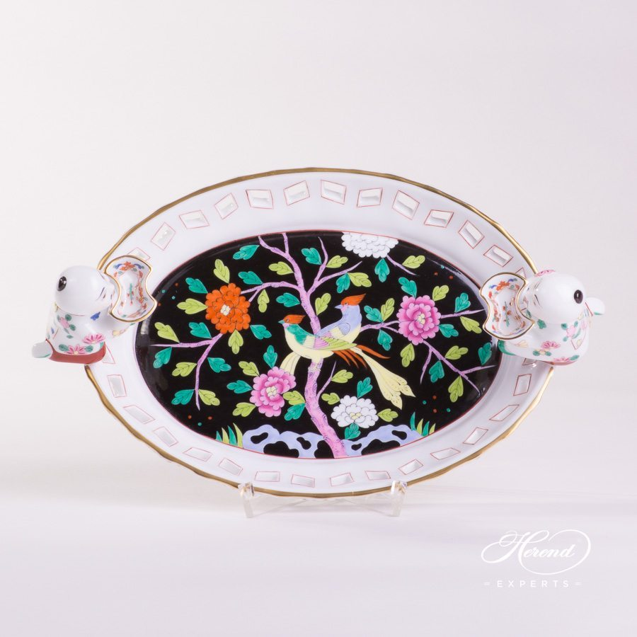 Fancy Dish with Mandarin 7467-0-00 MAC Macao Black decor. Herend porcelain tableware. Hand painted