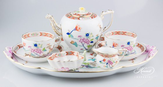 Tea Set for 2 Persons - Herend Shanghai SH decor. Herend porcelain tableware. Hand painted