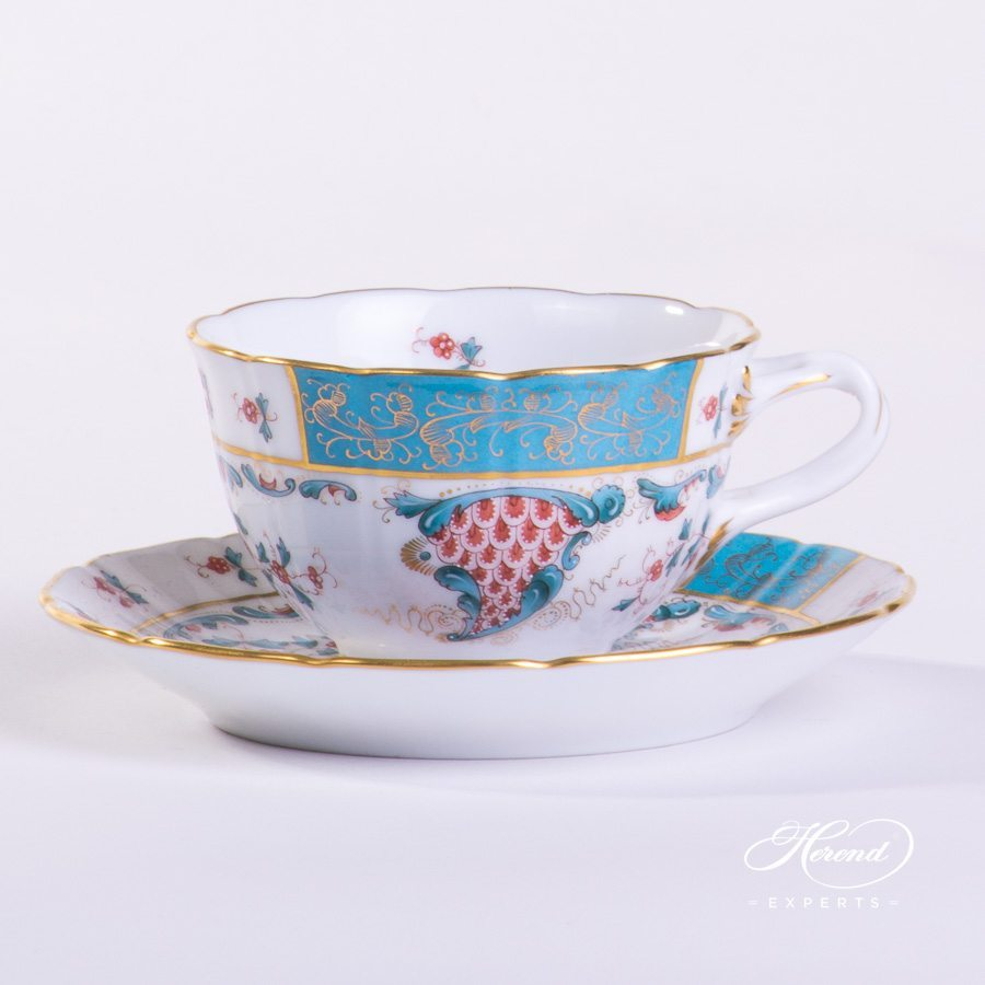 Tea Cup w. Saucer 4247-0-00 TCA Tupini pattern. Tea Cup w. Double Handles. Herend fine china hand painted. Luxury design