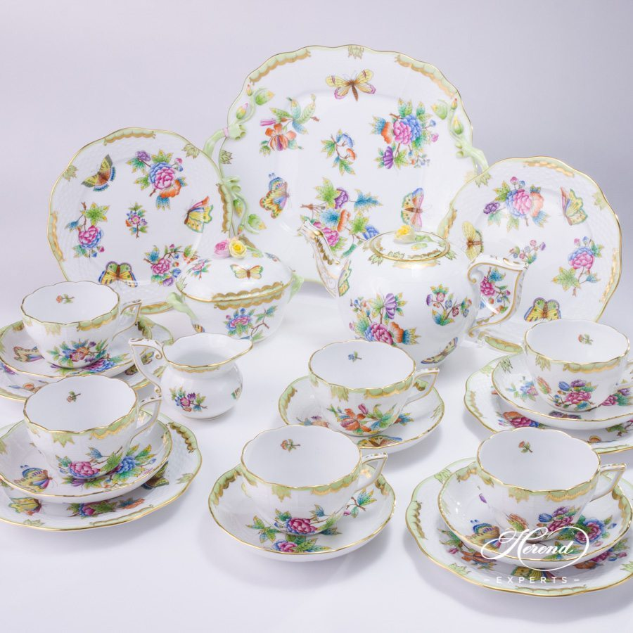 Tea Set for 6 Persons Queen Victoria VBO pattern - Herend porcelain.
