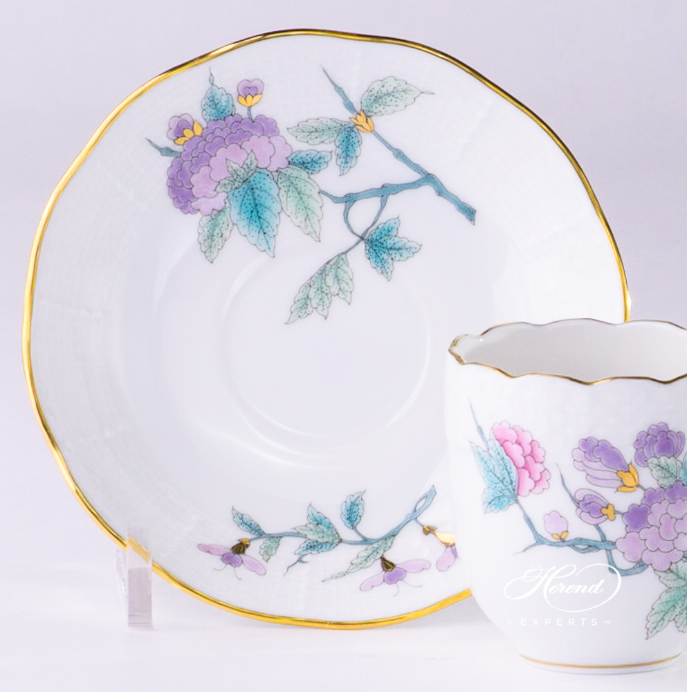 Espresso Cup with Saucer 709-0-00 EVICTF2 Royal Garden Turquoise Flower pattern - Herend porcelain hand painted.