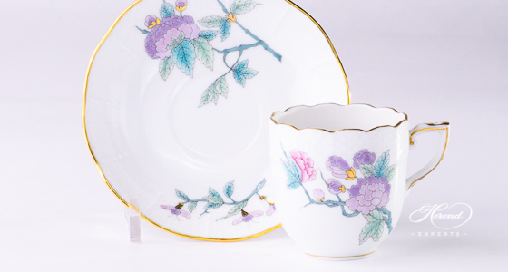 Espresso Cup with Saucer 709-0-00 EVICTF2 Royal Garden Turquoise Flower pattern - Herend fine china. Volume 1,0 dl - (3.3 OZ).